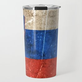 Vintage Aged and Scratched Slovenian Flag Travel Mug