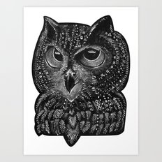Cool owl Art Print
