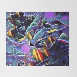 The Blue Purple Cat Throw Blanket