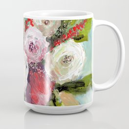 Peach and White Roses Coffee Mug