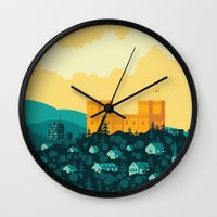 golden Wall Clocks featuring Golden castle by Roland Banrevi