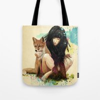 hearts Tote Bags featuring Fox Love by Ariana Perez