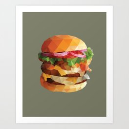 Gourmet Burger Polygon Art Art Print