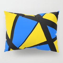 Yellow and Blue Triangles Abstract Pillow Sham