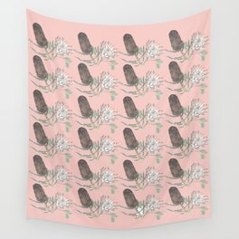 Banksia and Protea blush pink Wall Tapestry