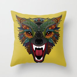 wolf fight flight ochre Throw Pillow