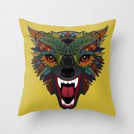 wolf fight flight ochre Throw Pillow