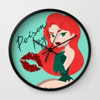 selena Wall Clocks featuring Poison Ivy Pin-Up  by jerseytigermoth