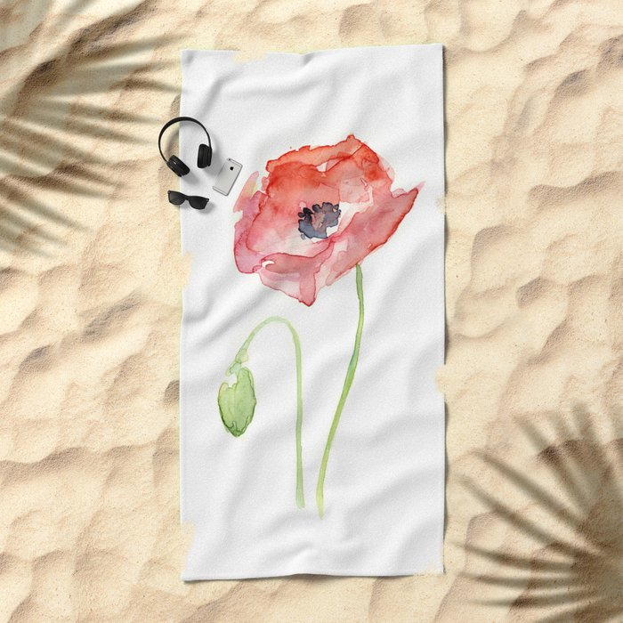 Red Poppy Watercolor Flower Floral Abstract Beach Towel