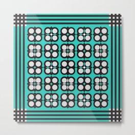 Geometric flowers grid neon teal Metal Print