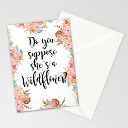 Blush and gold wildflower Stationery Cards