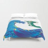 hokusai Duvet Covers featuring Hokusai Rainbow & Dragon by FACTORIE