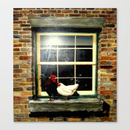 Rooster & Hen on a window Ledge Canvas Print