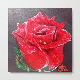 Red Red Rose Acrylic Painting Metal Print