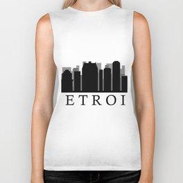 detroit skyline Biker Tank