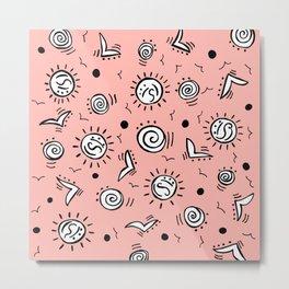 Doodle Drawing Seagulls Shells Sun - Coral Pink Metal Print