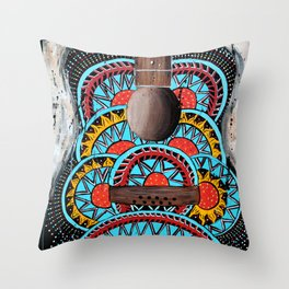 Retro Guitar Throw Pillow