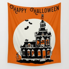 Vintage Style Haunted House - Happy Halloween Wall Tapestry