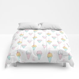 Cutest Ice cream Pattern Illustration ever Comforters