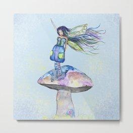Tiny Fairy of a Mushroom by Washington Artist Heather Saulsbury  Metal Print