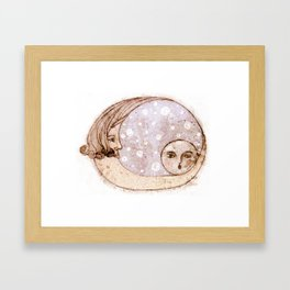 Mother Moon and Baby Moon Framed Art Print