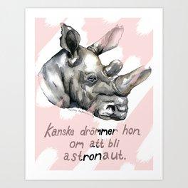 Najin in a pink dream Art Print