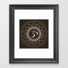 Espresso Brown Om Mandala Framed Art Print