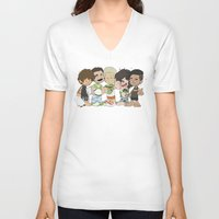 1d V-neck T-shirts featuring Sleepy 1D by Ashley R. Guillory