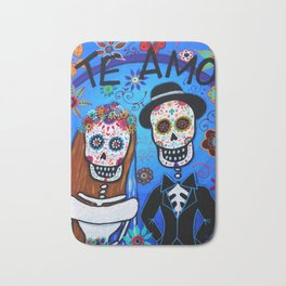 DAY OF THE DEAD WEDDING COUPLE LOVE PAINTING Bath Mat