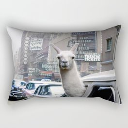 Llama Riding In Taxi In Color Rectangular Pillow