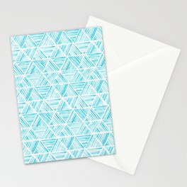 Blue Watercolor Triangular Pattern Stationery Cards