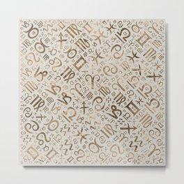 Zodiac symbol glyphs pastel gold Metal Print