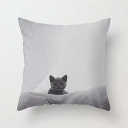 Kitten under the sheets Throw Pillow