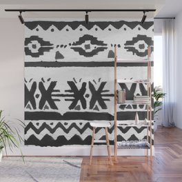 Black and White Watercolor Tribal Stripe Pattern Wall Mural