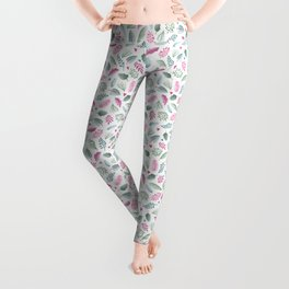Red and Green Floral Doodles on White. Watercolor Flowers and Leaves. Scandinavian Style Summer Patt Leggings