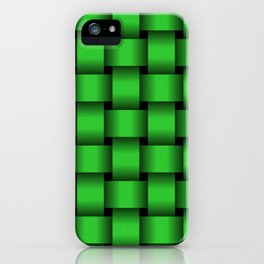Large Lime Green Weave iPhone Case