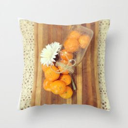 Lacy Clementines Throw Pillow