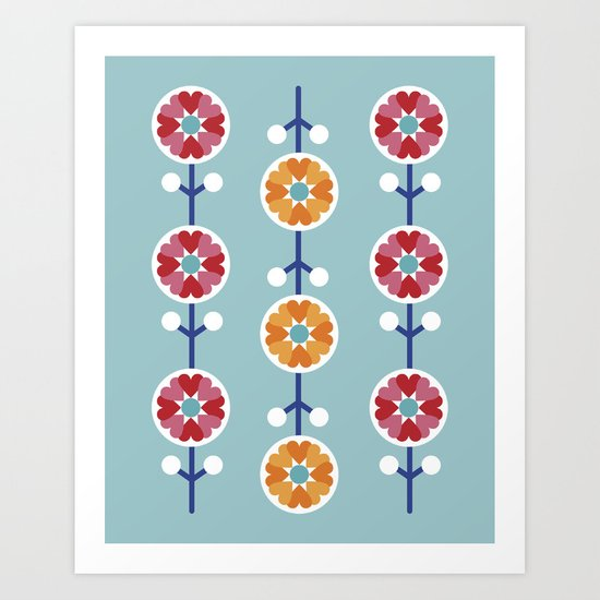 Scandinavian inspired flower pattern - blue background Art Print