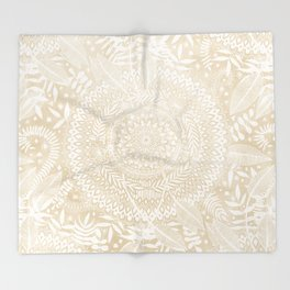 Medallion Pattern in Pale Tan Throw Blanket