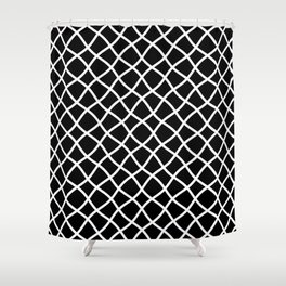 Black and white curved grid pattern Shower Curtain