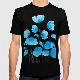 blue poppy field watercolor T-shirt