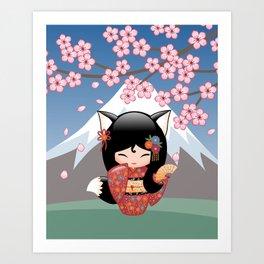Japanese Kitsune Kokeshi Doll Art Print