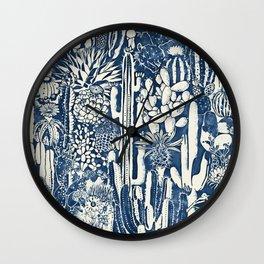 Indigo cacti Wall Clock