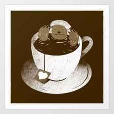 Monday Bath Sloth Coffee Art Print