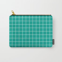 Persian green - green color - White Lines Grid Pattern Carry-All Pouch