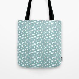 White bunnies on blue background Tote Bag