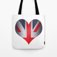 british flag Tote Bags featuring British Heart by Andy Readman @ AR2 Studio