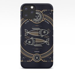 Pisces Zodiac Golden White on Black Background iPhone Case