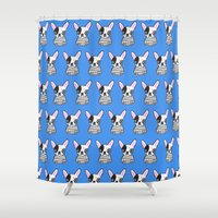 frenchie Shower Curtains featuring frenchie by turddemon