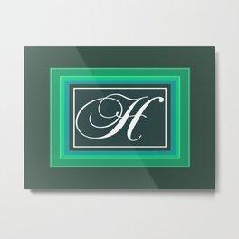 MONOGRAM  H GREEN Metal Print
